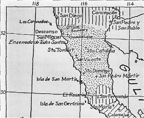 Locations of the 1 Franciscan and 9 Dominican Founded Missions in Baja California: On or near a paved road (north to south): Descanso, San Miguel, Guadalupe, Santo Tomás, San Vicente, El Rosario (first site). On a dirt road: Santa Catalina, Santo Domingo, El Rosario (final site), San Fernando.  On a foot trail: San Pedro Mártir. Satellite Views of the mission locations with GPS data for each: http://vivabaja.com/missions4/