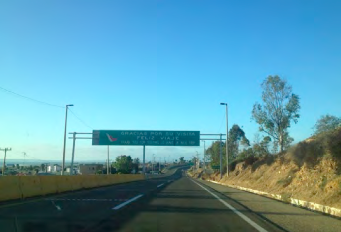 1. Heading north on the toll road, you will go through the last toll booth. Playas de Tijuana will be on your left. Continue on this road for a few miles.