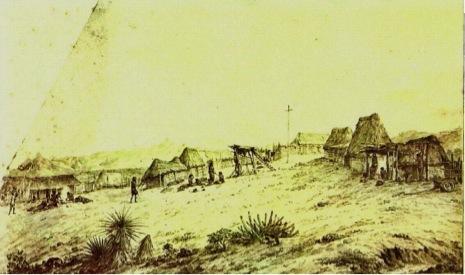 Mission San José del Cabo illustration by Alexander-Jean Noel in 1769.