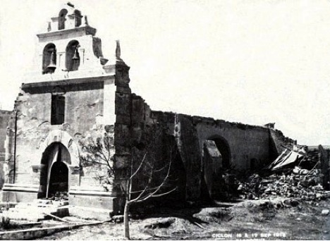 Church in ruins from the cyclone of 1918 by J.R. Slevin in 1919.