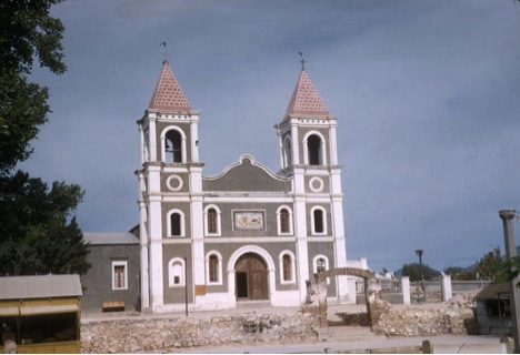 Modern church on the mission site by Howard Gulick in 1957.